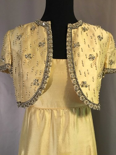 63d7035b55fc #044 1960's Pale Gold Gown with Jeweled Bolero Jacket ()