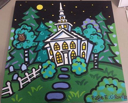 """Nightime at the Meetinghouse"" Painting by Page O'Rourke"