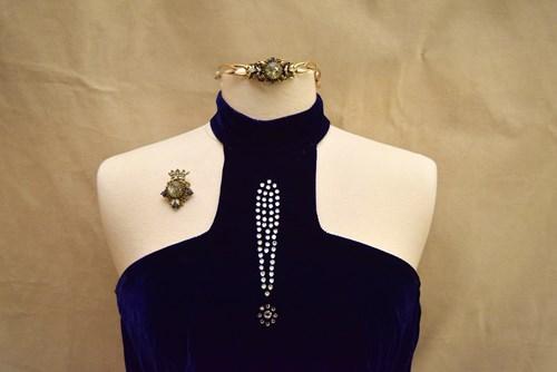 8f89380aeaa3 #001 Vintage Deep Blue Velvet Maxi Dress with Rhinestone Exclamation Mark ()